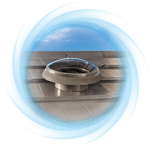 Airomatic - Powered roof top ventilator with clear dome