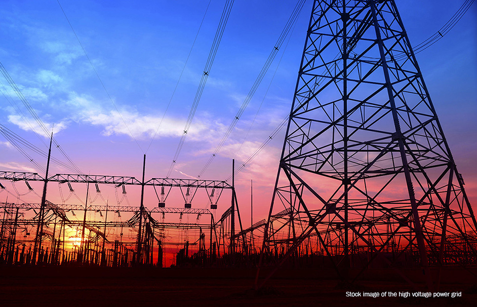 stock image high voltage power grid
